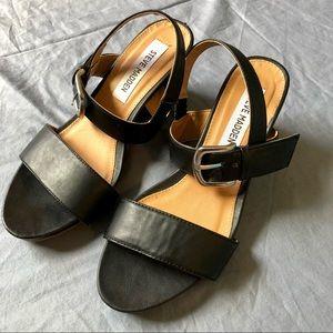 Steve Madden black thick strap sandal wedges